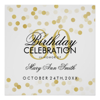 80th Birthday Faux Gold Foil Glitter Lights Poster