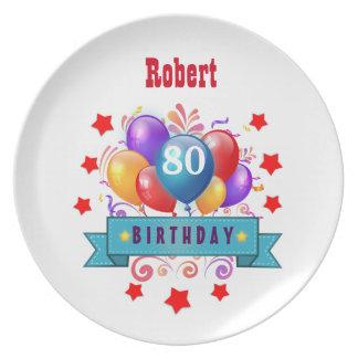 80th Birthday Festive Colorful Balloons C01HZ Melamine Plate