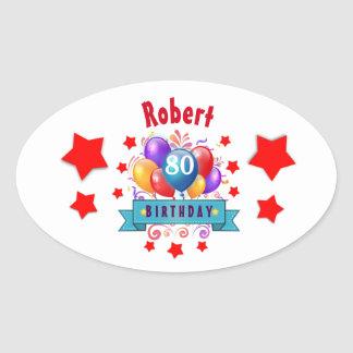 80th Birthday Festive Colorful Balloons C01HZ Oval Sticker
