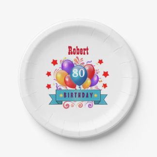 80th Birthday Festive Colorful Balloons C01HZ Paper Plate