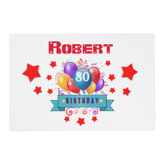 80th Birthday Festive Colorful Balloons C01HZ Placemat