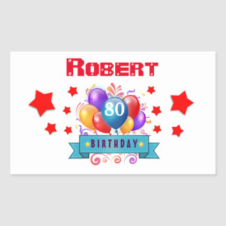 80th Birthday Festive Colorful Balloons C01HZ Rectangular Sticker