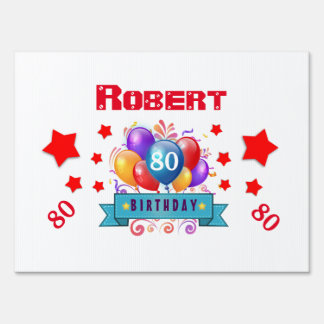80th Birthday Festive Colorful Balloons C01HZ Sign