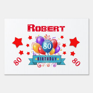 80th Birthday Festive Colorful Balloons C01HZ Yard Sign