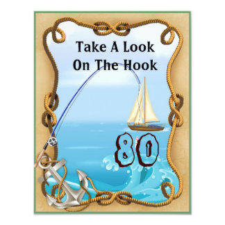80th Birthday Fishing Invitations for MEN