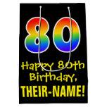 "[ Thumbnail: 80th Birthday: Fun, Bold, Colorful, Rainbow ""80"" Gift Bag ]"