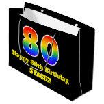 [ Thumbnail: 80th Birthday ~ Fun, Colorful, Vibrant, Rainbow 80 Gift Bag ]