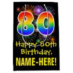 [ Thumbnail: 80th Birthday: Fun Fireworks Pattern + Rainbow 80 Gift Bag ]
