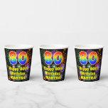 [ Thumbnail: 80th Birthday: Fun Fireworks Pattern + Rainbow 80 ]