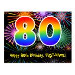 [ Thumbnail: 80th Birthday – Fun Fireworks Pattern + Rainbow 80 Postcard ]