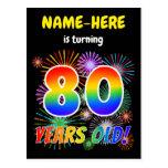 "[ Thumbnail: 80th Birthday - Fun Fireworks, Rainbow Look ""80"" Postcard ]"