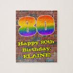 [ Thumbnail: 80th Birthday: Fun Graffiti-Inspired Rainbow 80 Jigsaw Puzzle ]