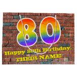 [ Thumbnail: 80th Birthday: Fun, Graffiti-Inspired Rainbow # 80 Gift Bag ]