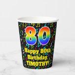 [ Thumbnail: 80th Birthday: Fun Music Notes Pattern, Rainbow 80 ]