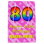 [ Thumbnail: 80th Birthday: Fun Pink Hearts Stripes; Rainbow 80 Gift Bag ]