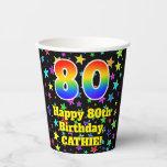 [ Thumbnail: 80th Birthday: Fun Stars Pattern and Rainbow 80 ]