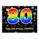 [ Thumbnail: 80th Birthday: Fun Stars Pattern, Rainbow 80, Name Postcard ]