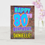 [ Thumbnail: 80th Birthday - Fun, Urban Graffiti Inspired Look Card ]