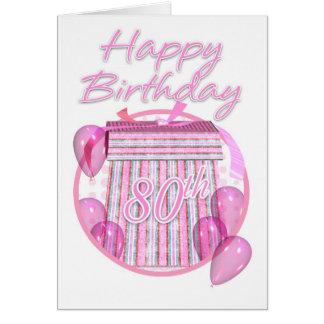 80th Birthday Gift Box - Pink - Happy Birthday Card