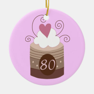 80th Birthday Gift Ideas For Her Double-Sided Ceramic Round Christmas Ornament