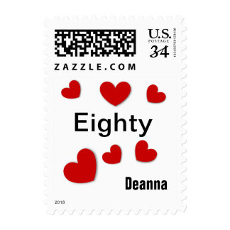 80th Birthday Girl 80 Years Young Hearts RED V21A Postage