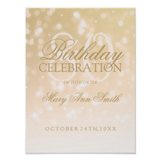 80th Birthday Gold Bokeh Sparkle Lights Poster