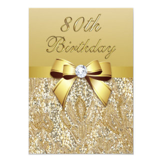 80th Birthday Gold Faux Sequins and Bow Card