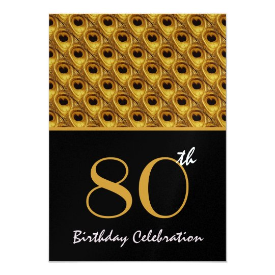 80th Birthday Gold Peacock Feathers Template