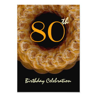 80th Birthday Gold Wreath of Roses Card