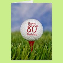 80th Birthday Golf Ball Card