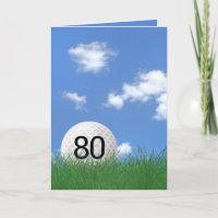 80th birthday, golf ball in grass card