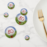 80th birthday golf ball on tee confetti