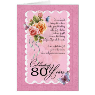 A happy 80th birthday rose cards greeting photo cards zazzle 80th birthday greeting card roses and butterfly bookmarktalkfo Choice Image