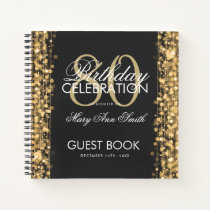 80th Birthday Guestbook Party Sparkles Gold Notebook