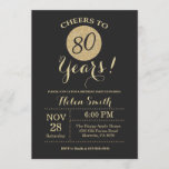 """80th Birthday Invitation Black and Gold Glitter<br><div class=""""desc"""">80th Birthday Invitation Black and Gold Glitter Card. For further customization,  please click the """"Customize it"""" button and use our design tool to modify this template.</div>"""