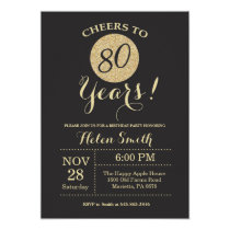 80th Birthday Invitation Black and Gold Glitter
