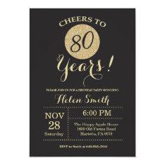 80th Birthday Invitation Black And Gold Glitter at Zazzle