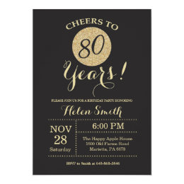 80s invitations announcements zazzle 80th birthday invitation black and gold glitter filmwisefo