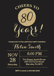 80th birthday invitations zazzle 80th birthday invitation black and gold glitter filmwisefo