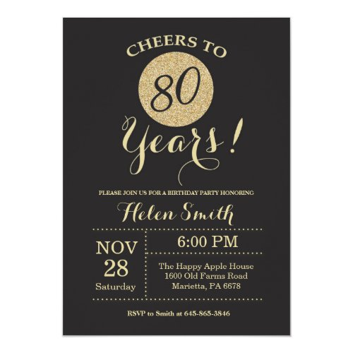 Cheers to 80 Years Invitations