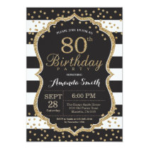 80th Birthday Invitation. Black and Gold Glitter Card