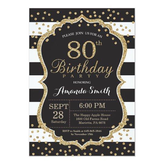 80th Birthday Invitation Black And Gold Glitter Invitation Zazzle Com