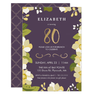 80th Birthday Invitation, Customize Floral w/ Gold Card