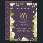 """80th Birthday Invitation, Customize Floral w/ Gold Invitation<br><div class=""""desc"""">This elegant and classy eightieth birthday invitation features an illustrated floral border and the number """"80"""" in gold. The background is a purple color, but can be customized to any color you choose. The back of the invite includes a gold quatrefoil pattern with a matching purple background that can also...</div>"""