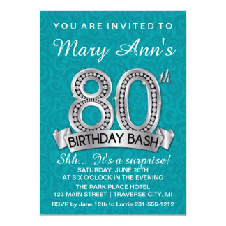 80th Birthday Invitation Diamond Milestone Invite