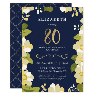 80th Birthday Invitation, Eightieth Customize Card