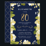 """80th Birthday Invitation, Eightieth Customize Invitation<br><div class=""""desc"""">This elegant and classy eightieth birthday invitation features an illustrated floral border and the number """"80"""" in gold. The background is a navy blue color, but can be customized to any color you choose. The back of the invite includes a gold quatrefoil pattern with a matching blue background that can...</div>"""