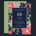 """80th Birthday Invitation - Gold, Elegant Floral<br><div class=""""desc"""">This elegant and classy petite eightieth birthday celebration invitation can be customized for your special occasion. It features an illustrated, colorful spring/summer floral border (of tulips, hydrangeas, etc.) as well as a gold frame and gold accents. The background color and text can be changed to your liking. A perfect invite...</div>"""