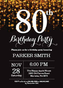 80th Birthday Invitation Gold Glitter