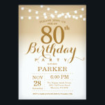 "80th Birthday Invitation Gold String Lights<br><div class=""desc"">80th Birthday Invitation with Gold String Lights. Gold Birthday. Adult Birthday. Men or Women Bday Invite. 13th 15th 16th 18th 20th 21st 30th 40th 50th 60th 70th 80th 90th 100th,  Any age. For further customization,  please click the ""Customize it"" button and use our design tool to modify this template.</div>"